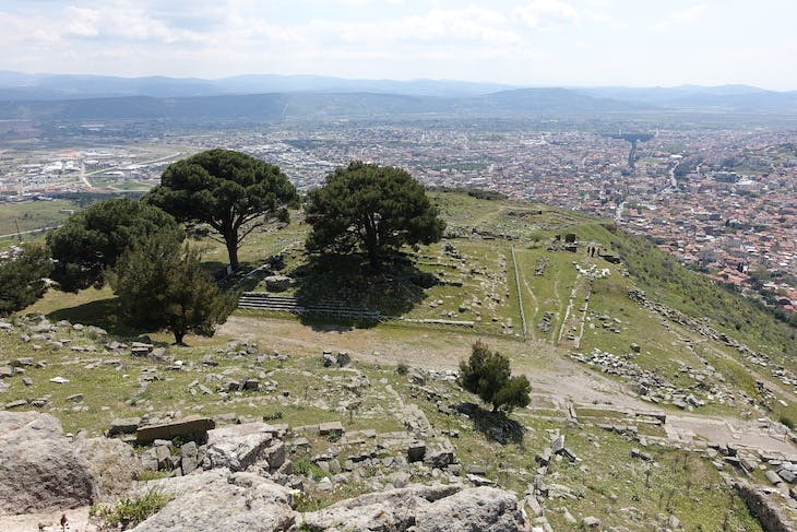 Original site of the Great Pergamon Altar and its remains seen in Bergama, near Izmir, 2019.