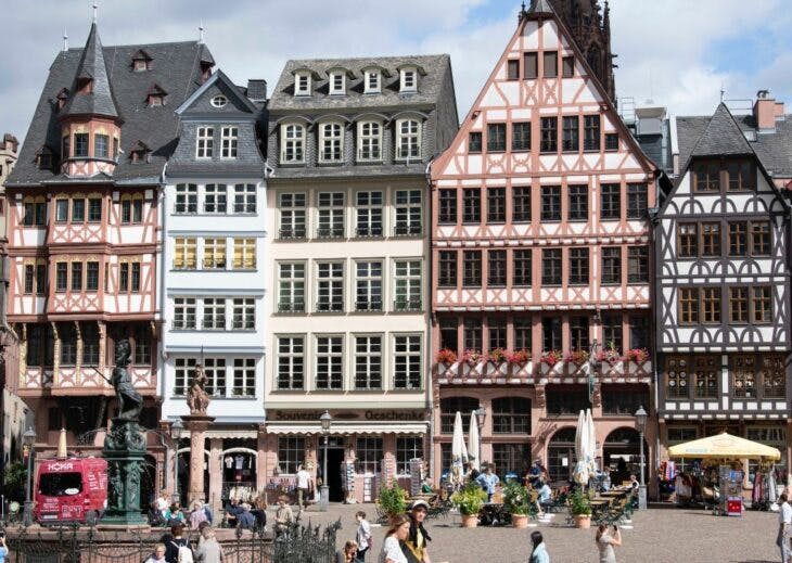 Row of half-timbered houses ('Ostzeile') on the eastern side of Römerberg Square, Frankfurt, reconstructed in the 1980s.