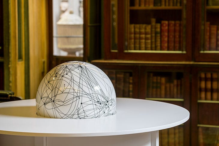 Globe Table (detail; 2020), Langlands & Bell. Installation view in the No. 13 Breakfast Room at Sir John Soane's Museum, London, 2020.