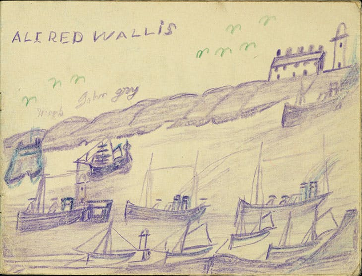 Page from Castle Book (1941–42), Alfred Wallis. Lent anonymously, All Rights Reserved
