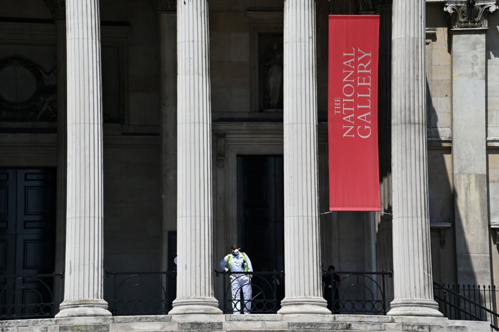 A view of the closed National Gallery in London in June 2020.