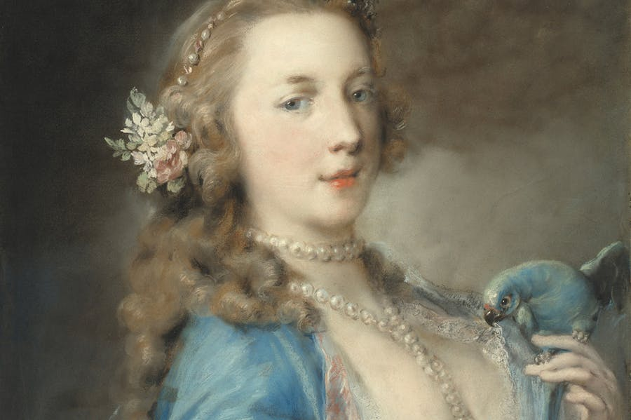 A Young Lady with a Parrot (detail; c. 1730), Rosalba Carriera.