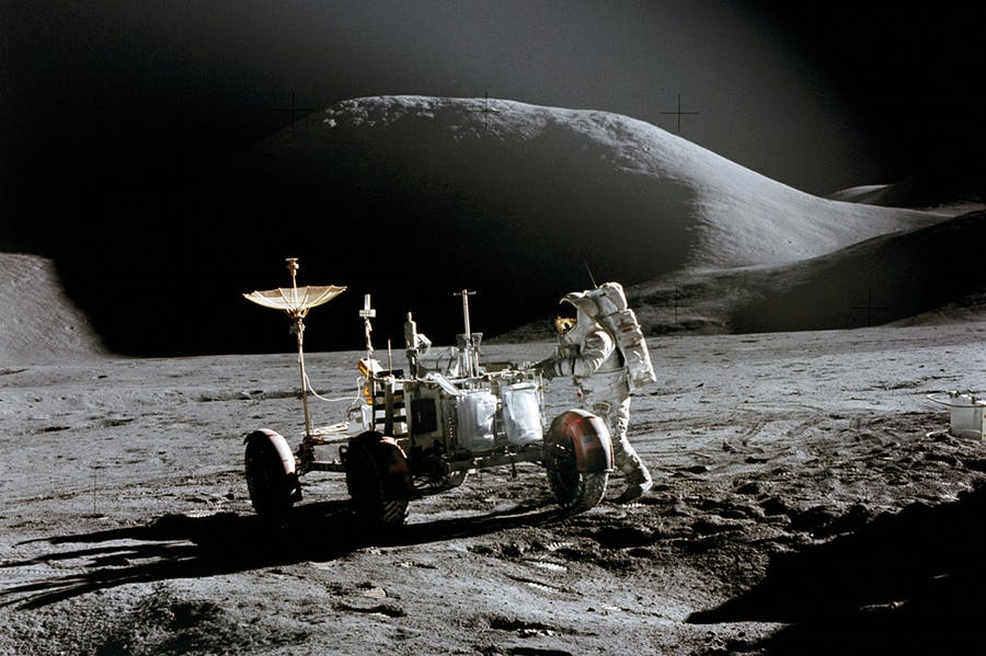 The Lunar Roving Vehicle and James B. Irwin on the surface of the Moon on 31 July 1971 during the Apollo 15 mission (photograph: David R. Scott)