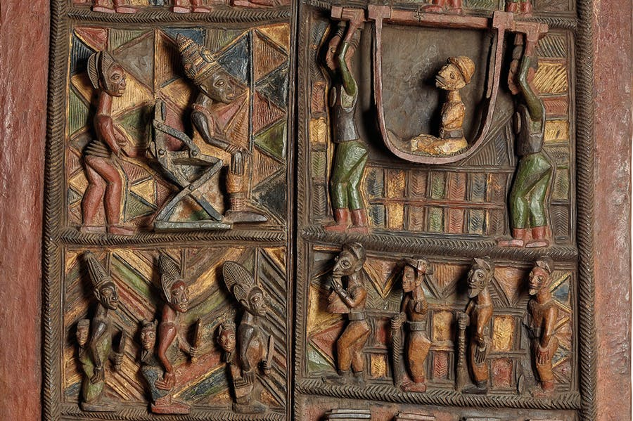 Detail of Ikere Palace door and lintel (c. 1910–14), Olowe of Ise, Yoruba peoples, Nigeria. British Museum, London