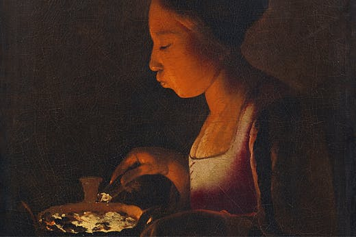 A Girl Blowing on a Brazier (detail; 1646–48), Georges de La Tour. Lempertz, Cologne (estimate €3m–€4m)