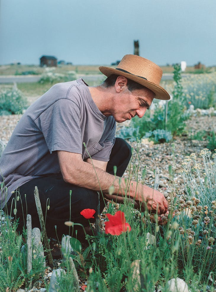 Derek Jarman (1942–94) in the garden at Prospect Cottage.