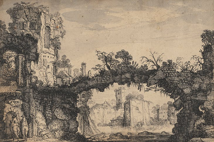 Landscape with Ruins (recto) (c. 1615–16), Jan van de Velde II. J. Paul Getty Museum, Los Angeles