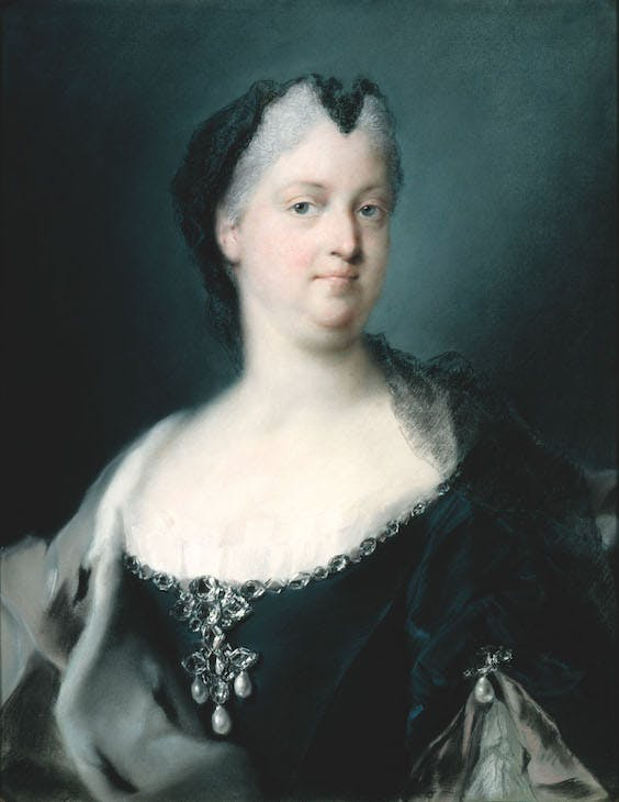 Portrait of Empress Wilhelmine Amalie (1730), Rosalba Carriera.