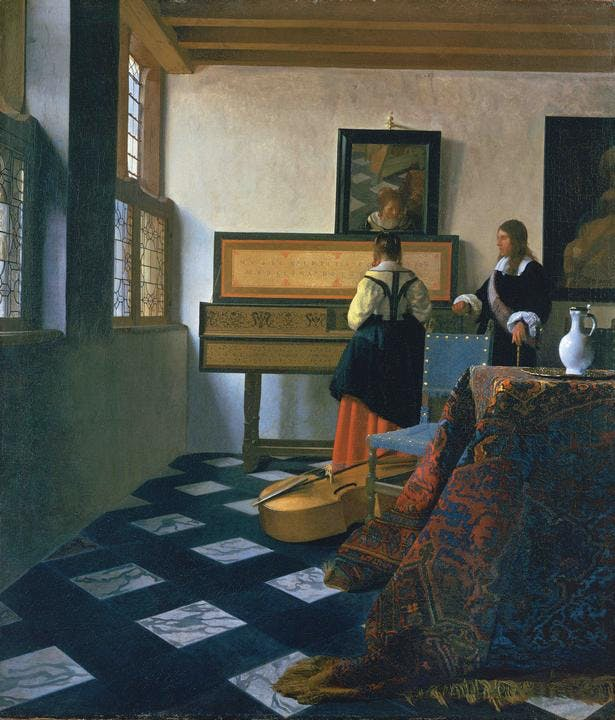 A Lady at the Virginals with a Gentleman ('The Music Lesson') (early 1660s), Johannes Vermeer.