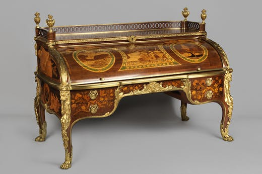 Roll-top desk (c. 1770), cabinetwork by Jean-Henri Riesener, model designed by Jean-François Oeben