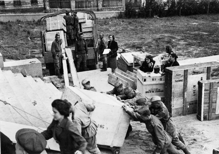 The unloading of paintings taken from the Dresden Gallery in 1945.