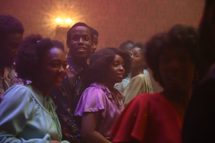 Micheal Ward as Franklyn and Amarah-Jae St Aubyn as Martha in Lovers Rock (2020; dir. Steve McQueen).