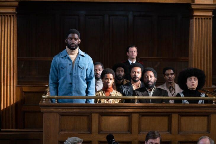 A courtroom scene in Mangrove (2020; dir. Steve McQueen).