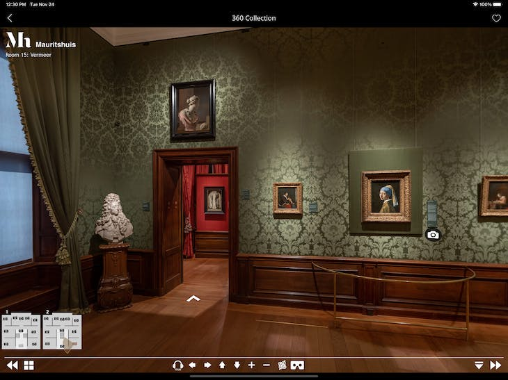 The Mauritshuis virtual tour, viewed on the Second Canvas app on tablet