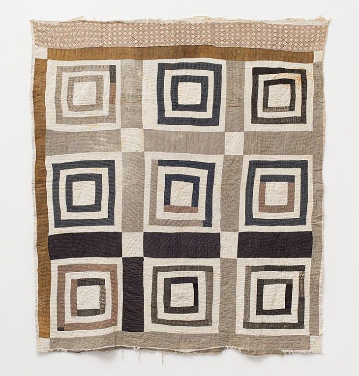 'Housetop' - nine-block variation (c. 1930), Annie E. Pettway.