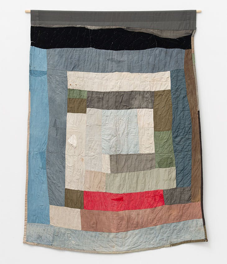 Two-sided work-clothes quilt: Bars and blocks (c. 1960), Loretta Pettway.
