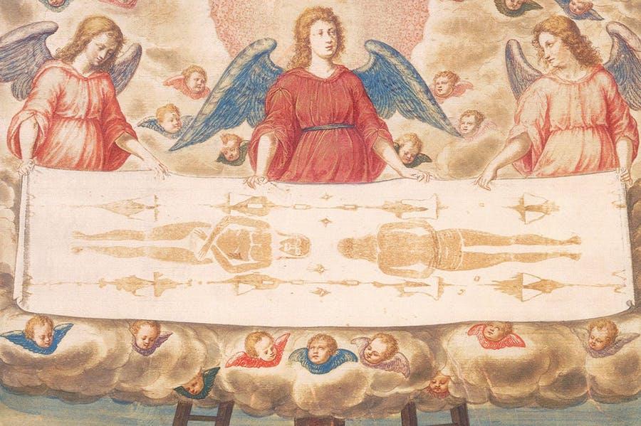 The Holy Shroud (detail; c. 1540), attrib. here to Giulio Clovio. Galleria Sabauda, Turin
