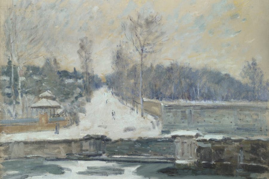The Watering Place at Marly-le-Roi (detail; c. 1875), Alfred Sisley.