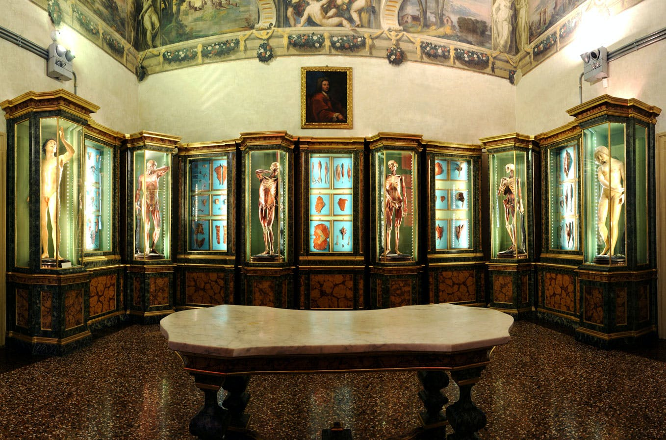 The anatomy room, with figures by Ercole Lelli, in the Palazzo Poggi, Bologna