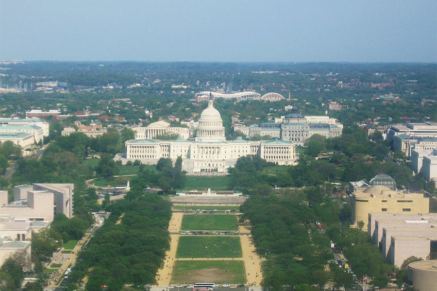A view of the National Mall and the United States Capitol from the top of the Washington Monument