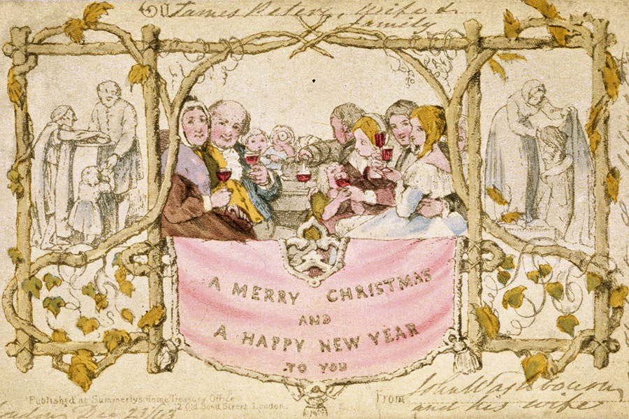 The first Christmas card, commissioned by Henry Cole and designed by John Calcott Horsley, published in 1843. Christie's, London (estimate £5,000–£8,000)