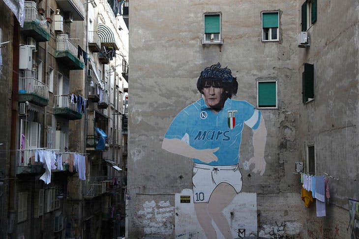 A mural depicting Diego Maradona in Largo degli Artisti.