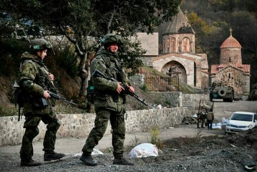 Russian patrols in front of the medieval monastery of Dadivank in November 2020.