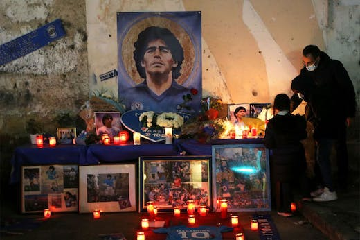 An altar to Diego Maradona set up in the Quartieri Spagnoli of Naples after the footballer's death on 25 November 2020.