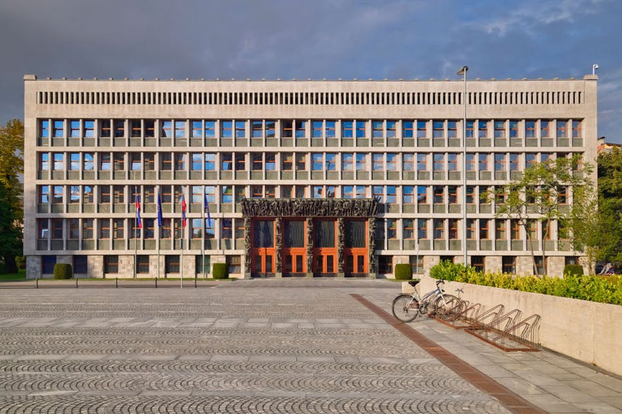 The National Assembly Building (Parliament) in Ljubljana.