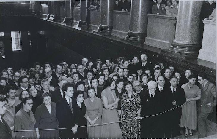 Visitors in 1955 awaiting the opening of a landmark exhibition at the Pushkin Museum which displayed paintings from Dresden before their return to Germany