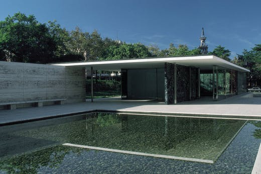 Replica of the Barcelona Pavilion designed by Ludwig Mies Van der Rohe and Lilly Reich for the International Exposition of 1929 and rebuilt in 1983.