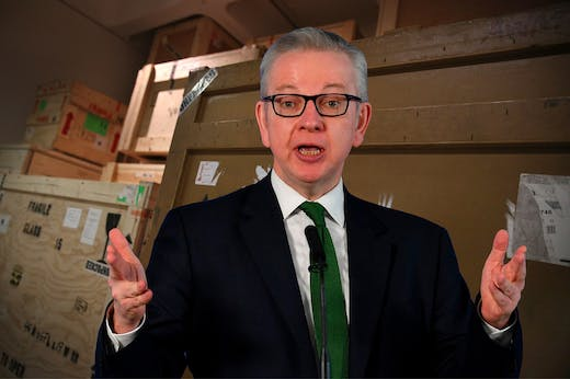 Michael Gove: Leon Neal/Getty Images; Background: Peter Macdiarmid/Getty Images for Barbican Art Gallery