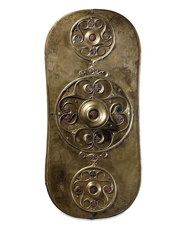 The Battersea Shield (c. 350–50 BC), found in the River Thames.