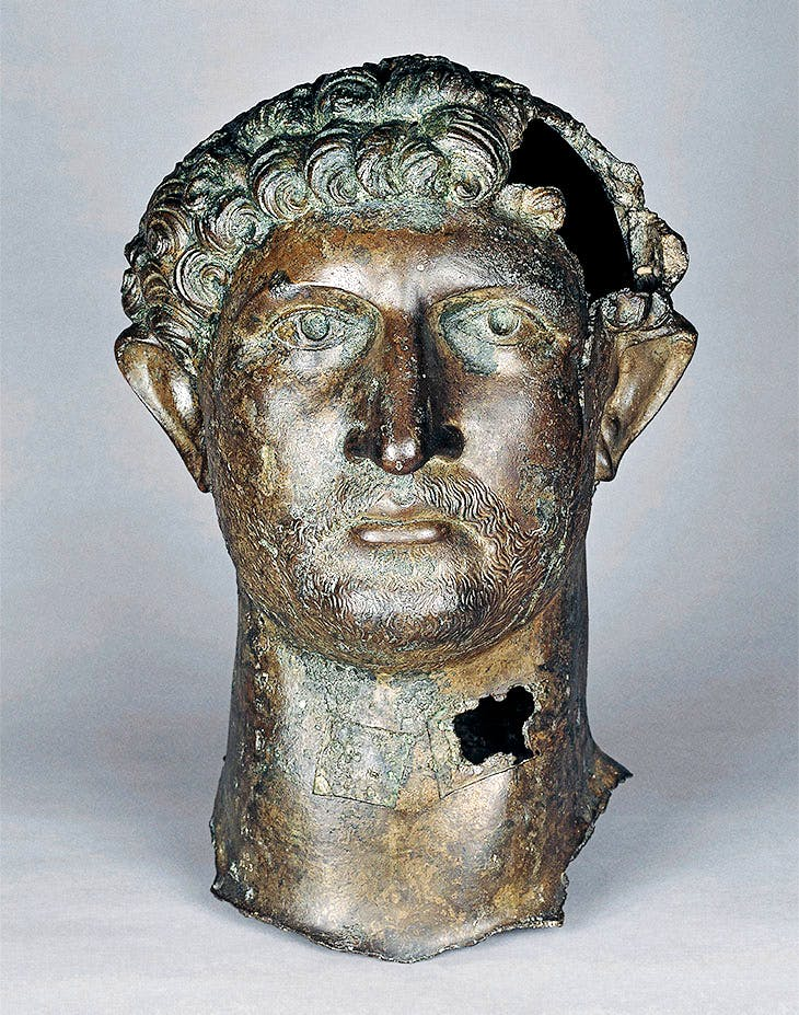 Bronze head of Hadrian (117–138), found in the River Thames.