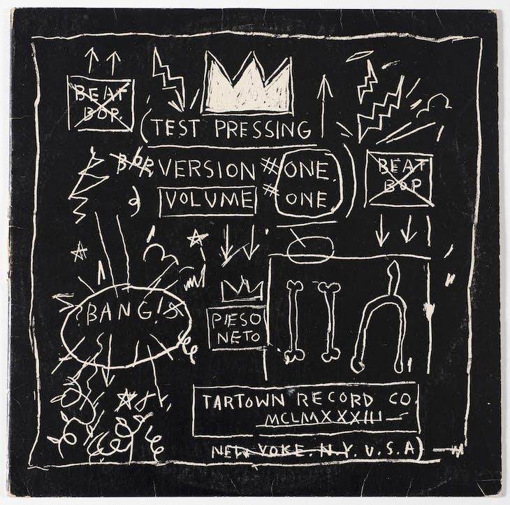 Front album cover of Beat Bop: Rammellzee Versus K-Rob (Tartown Record Co.; 1983), Jean-Michel Basquiat.