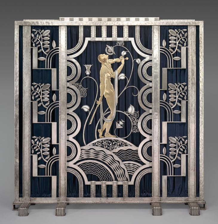 Muse with Violin Screen (1930), designed by Paul Féher for Rose Iron Works.