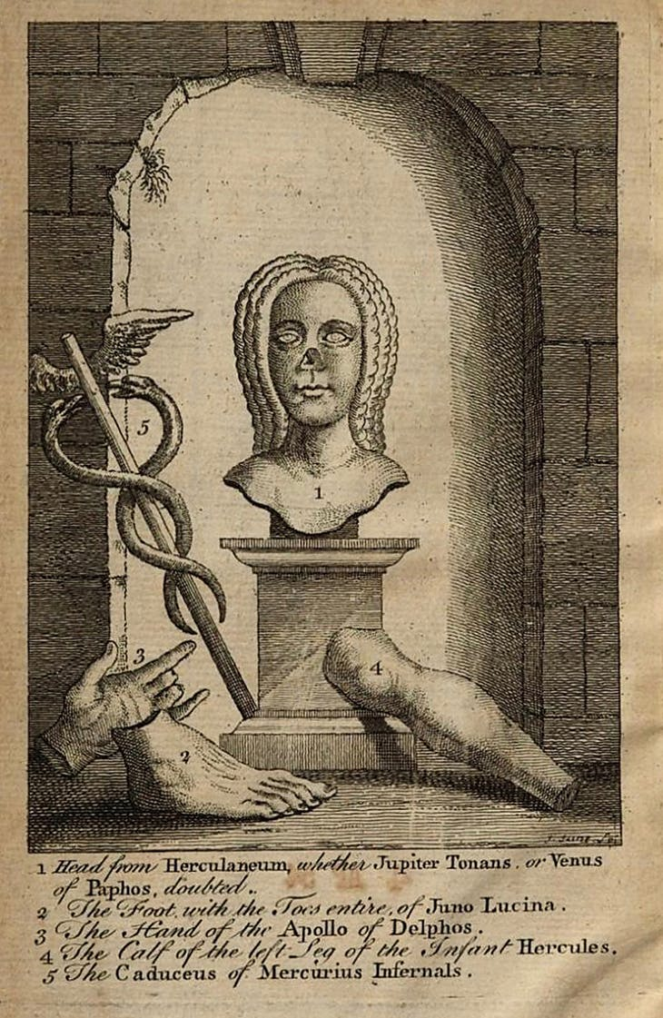 Frontispiece of the 1765 edition of Samuel Foote's Taste: A Comedy, of Two Acts (1752).