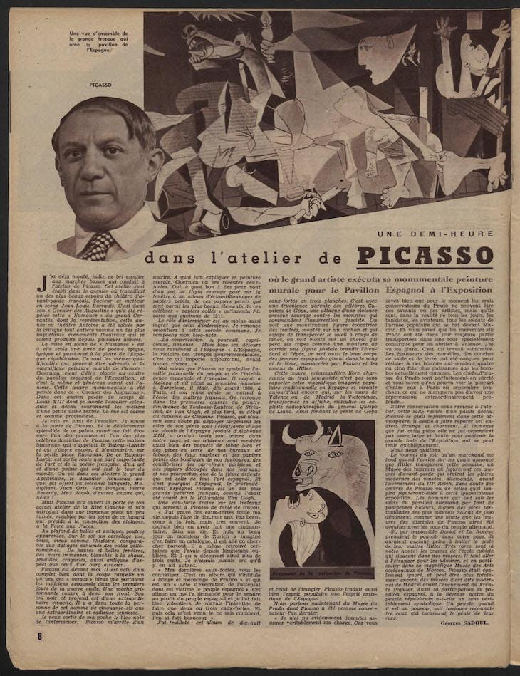 Article by Georges Sadoul published in Regards, 29 July 1937, from Picasso's private archives.