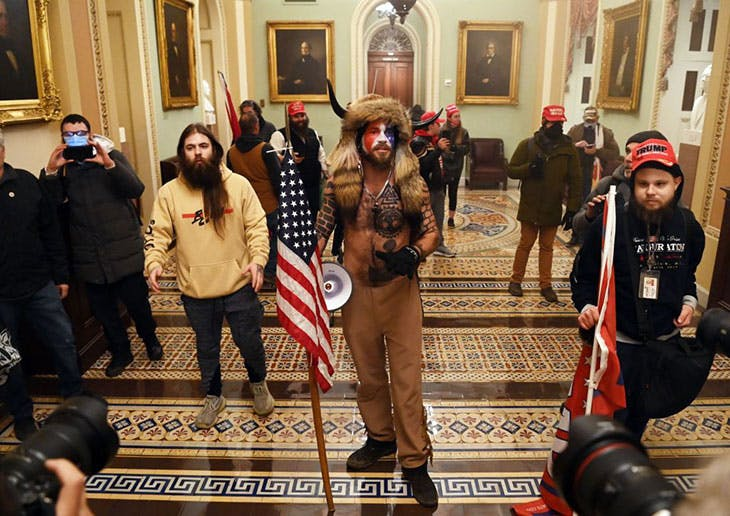 Rioters in the US Capitol on 6 January 2021.