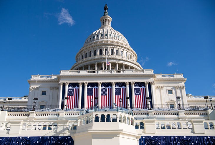 A view of the US Capitol in Washington, D.C., on 19 January – setting the stage for the presidential inauguration the following day.