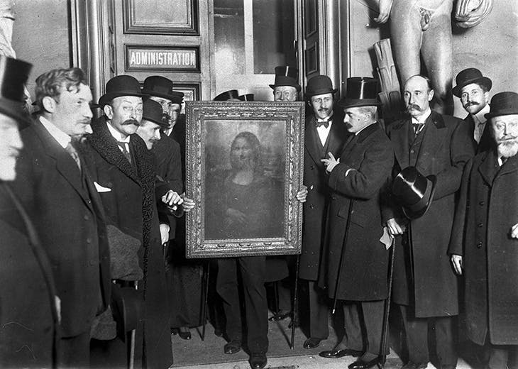 The Mona Lisa at the Louvre in January 1914, recovered after its theft in 1911