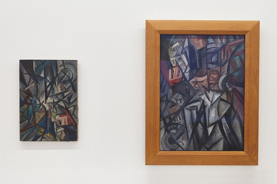 Installation view of 'Russian Avant-Garde at the Museum Ludwig: Original and Fake – Questions, Research, Explanations', with works by or previously attributed to Olga Rozanowa shown side by side.