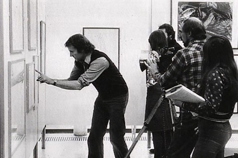 Mike Dibb selecting an image for Seeing Through Drawing (1976).