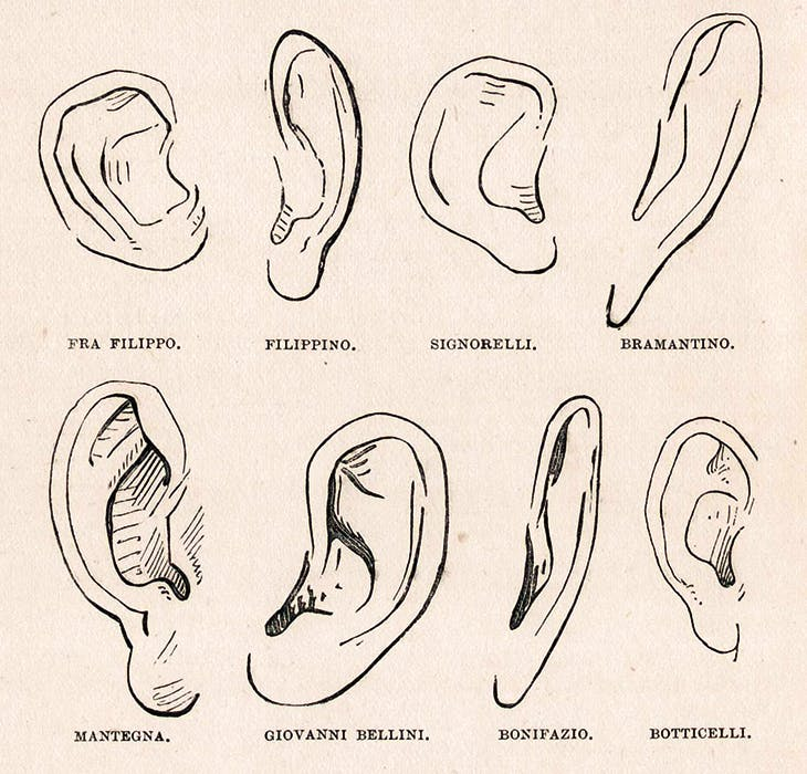 Illustration from Giovanni Morelli's Italian Painters (1892), showing the author's diagram of ears