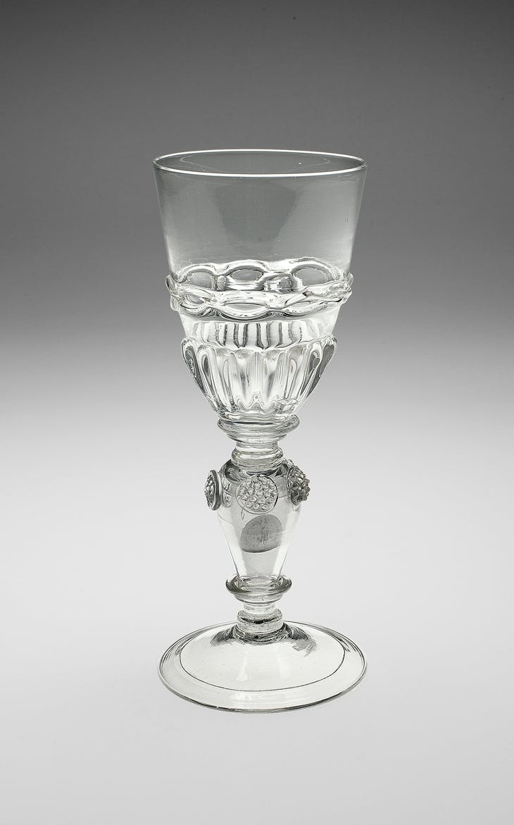 Goblet (late 17th/early 18th century); silver three-penny coins in stem (1670 and 1671), The Bryan Collection, Lake Bluff, Illinois.