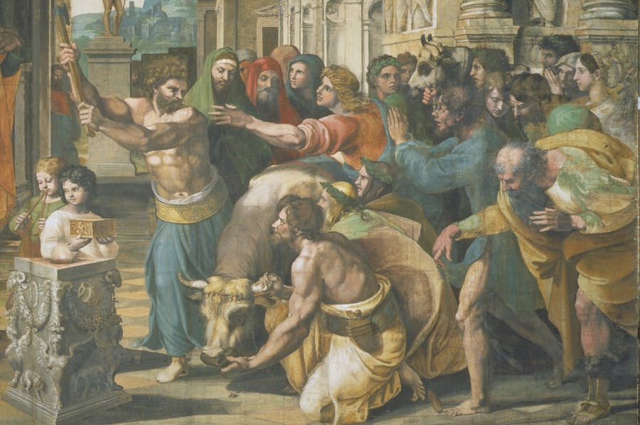 The Sacrifice at Lystra (detail; 1515–16), Raphael.