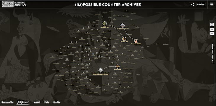 Screenshot from the '(Im)Possible Counter-Archives' page of the 'Rethinking Guernica' website