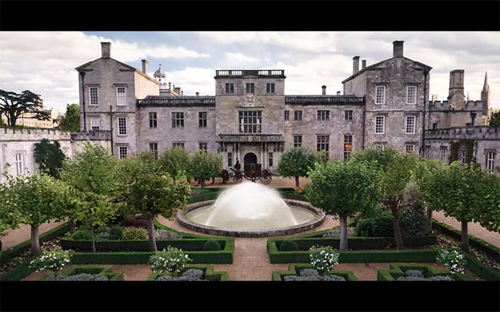 An exterior shot of Wilton House – in the guise of the Duke of Hasting's London residence – in Bridgerton. Photo: Netflix