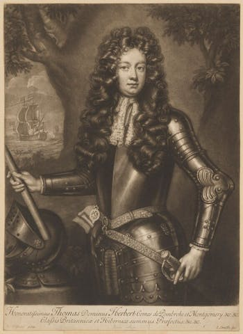 Thomas Herbert, 8th Earl of Pembroke (1708), engraving by John Smith after a painting by Willem Wissing.