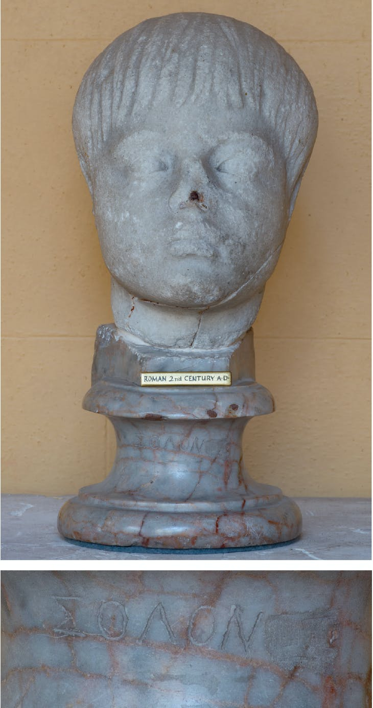 Top: Head of a boy (c. AD 100–120), Roman; Bottom: Detail of base inscribed with the name 'Solon'. Wilton House, Wiltshire.